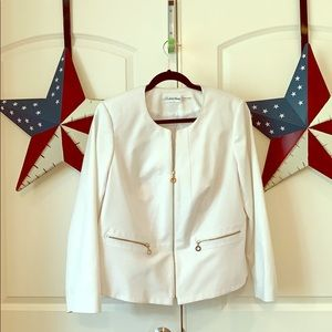 CALVIN KLEIN Collarless White Jacket